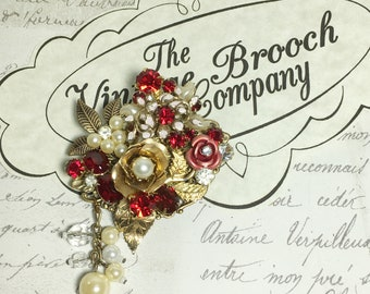 Vintage collage brooch upcycled pin red ruby July rhinestone pearl bling