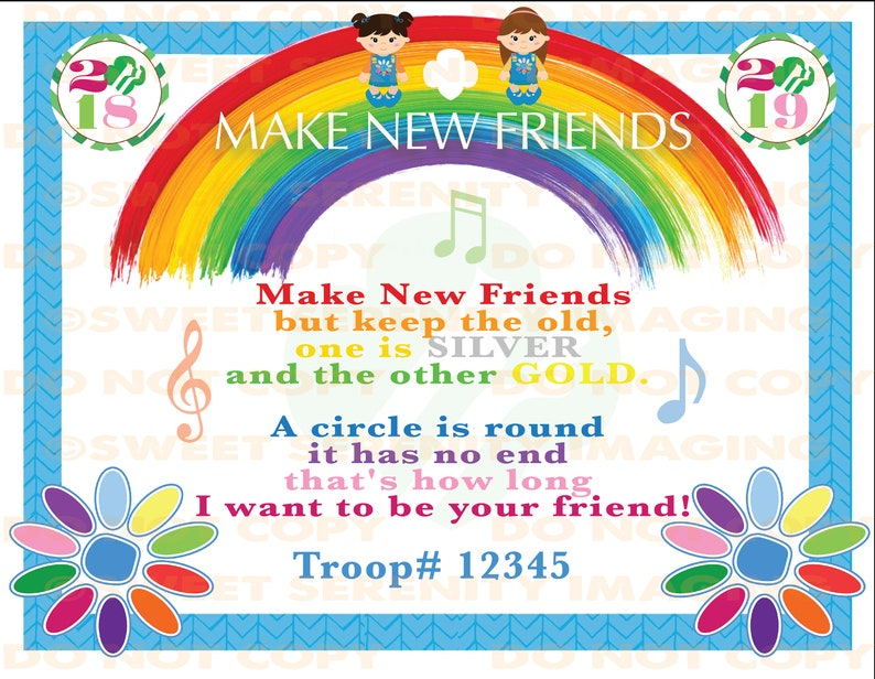 image regarding Make New Friends Song Printable titled EDITABLE Female Scout - Create Contemporary Buddies (Daisies) - Tune Lyrics - PRINTABLE