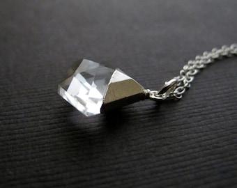 Diamond Shaped Quartz Necklace Sterling Silver, Silver Dipped Stone Pendant