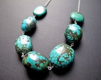Turquoise Nugget Necklace, Chunky Turquoise Jewelry