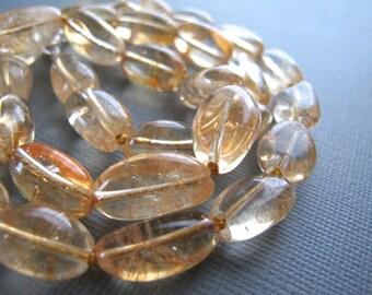 Chunky Citrine Necklace, Hand Knotted, Pale Yellow Gemstone Jewelry, November Birthstone, Honey
