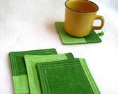 vintage recycled fabric quilt coasters - set of 4
