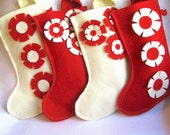 eco deal.. 4 stockings for the price of 3...you CHOOSE the style and colours CUSTOM rikrak ecospun felt stocking