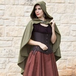 Olive Green Rogue Cape - Renaissance Clothing - Halloween Costume - Ren Faire Garb - Medieval Clothing - Mens Womens Cloak - Hooded Cape