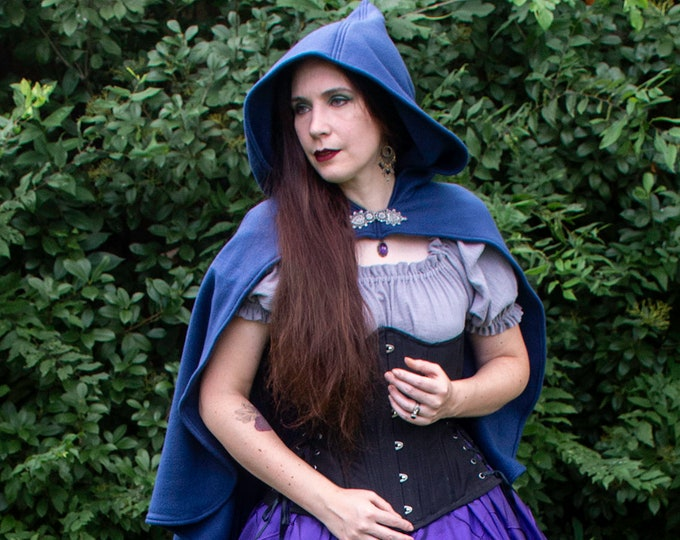 Navy Blue Rogue Cape - Renaissance Clothing - Halloween Costume - Ren Faire Garb - Medieval Clothing - Mens Womens Cloak - Hooded Cape