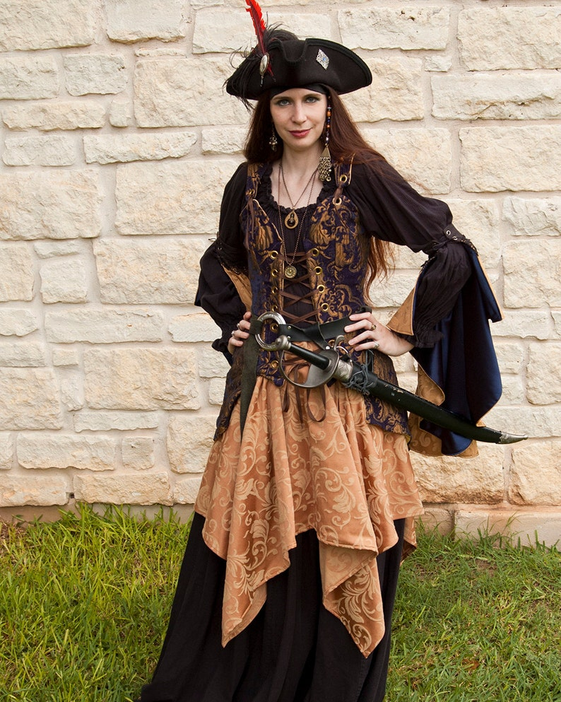 Golden Yellow Brocade Pixie Skirt - Renaissance Clothing - Halloween  Costume - Pirate Skirt - Ren Faire Garb - Fairy Costume - SCA LARP