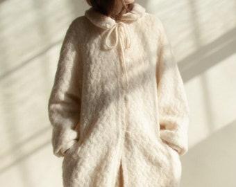 3097o / pure virgin wool pan collar coat / us 12