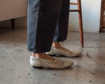 metallic woven booties / woven flats / minimalist shoes / 847s / US 11
