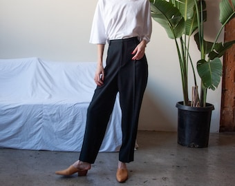 ELLEN TRACY black crepe baggy trousers / pleated trousers / high waist pants / US 12 / 31 W / 3644t / B9