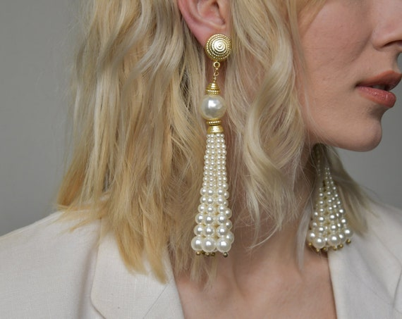 2462a / Pearl Fringe Drop Earrings / Long Pearl Earrings by Etsy
