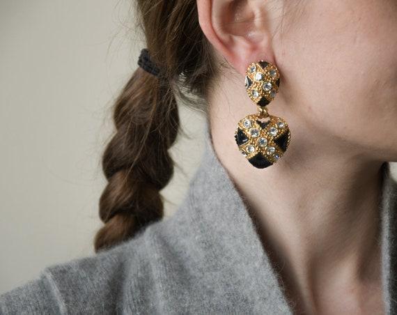 Jet Black Square Earrings rhombus Earrings Black and Gold Retro Inspired Earrings Vintage Style Jewelry Black Earrings minimalist Jewelry