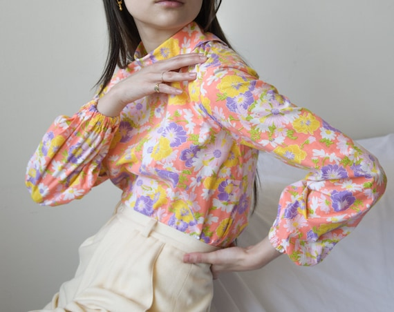 6008t / 1960s pink cotton floral print blouse / s