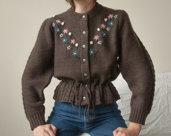 6428t / hand knit floral embroidered puff sleeve cardigan sweater / s / 36