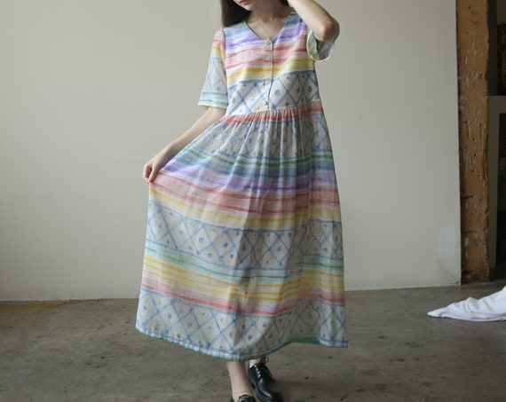 2704d / pastel print cotton babydoll dress / long