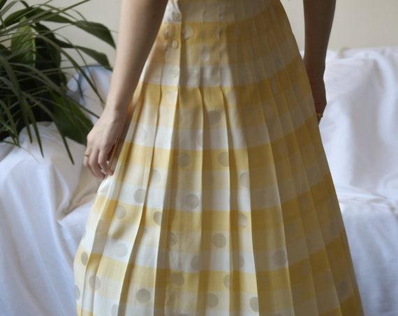 5656t / silk striped polka dot pleated skirt / us