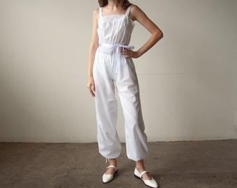 2902d / 1970s white cotton crochet lace jumpsuit / s