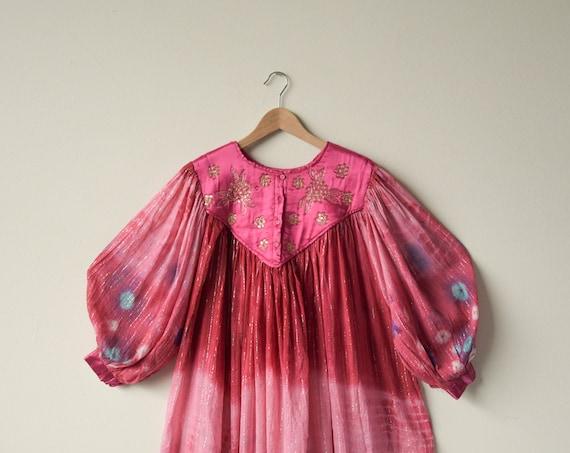 2729d / cotton gauze tie dye indian tent dress / q