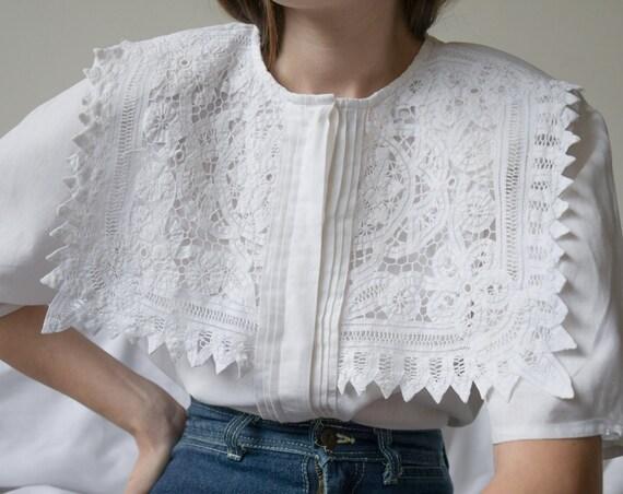 5997t / white cotton lace sailor collar blouse / u