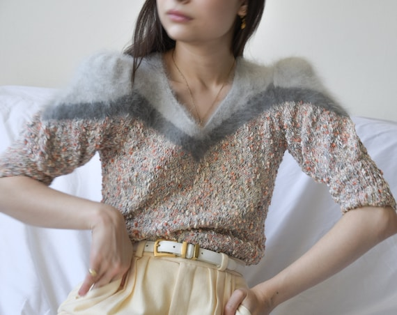 5845t / boucle knit angora shoulder puff sleeve sw