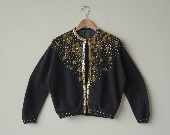 617t / 1950s black gold sequin cardigan sweater /