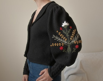 6386t / black wool mutton puff sleeve floral embroidered cardigan sweater / s / m