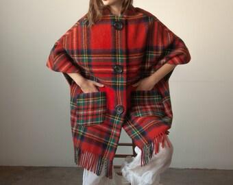 3099o / red tartan plaid wool fringe coat / s / m
