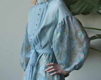 2002d / 60s blue floral beaded mutton sleeve dress / s / m