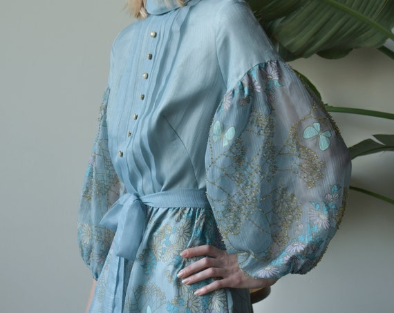 2002d / 60s blue floral beaded mutton sleeve dress