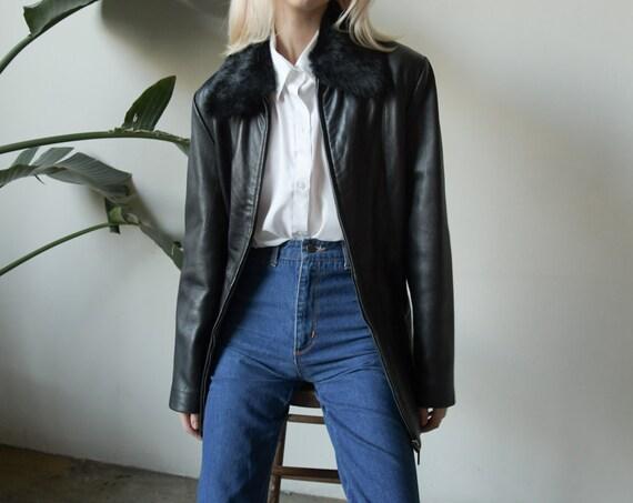 2930o / black leather faux fur collar jacket / m /