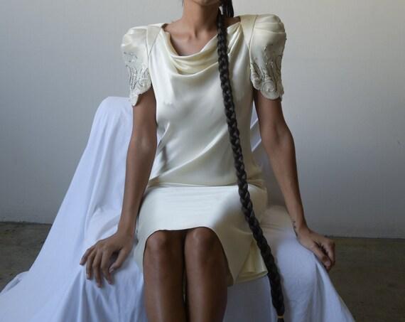 1420d / bias cut white puff sleeve evening dress /