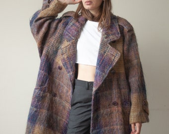 3098o / plaid mohair wool oversized double breasted coat / s / m / l