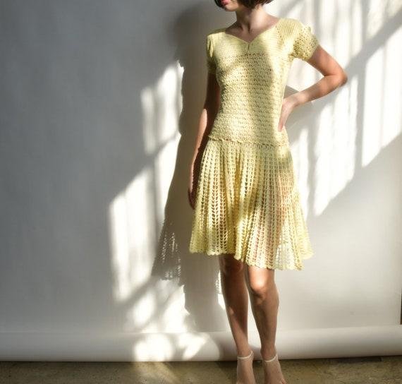 2748d / 40s yellow crochet knit dress / s