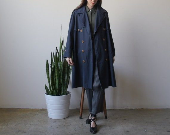 2498o / navy blue oversized belted trench coat / s
