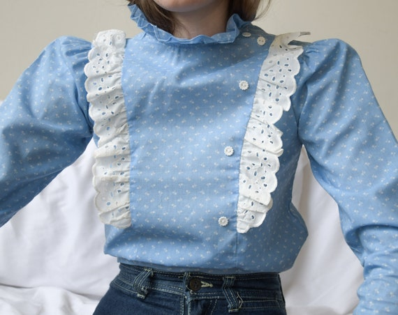 5940t / 70s blue floral cotton ruffle collar bib s