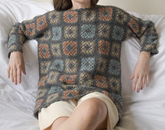 5815t / shetland wool gray granny square crochet s