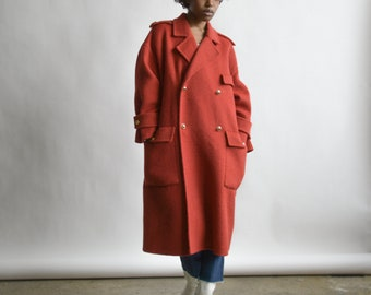 reserved for ada - 3031o / GEOFFREY BEENE red brushed wool oversized coat / s / m / l