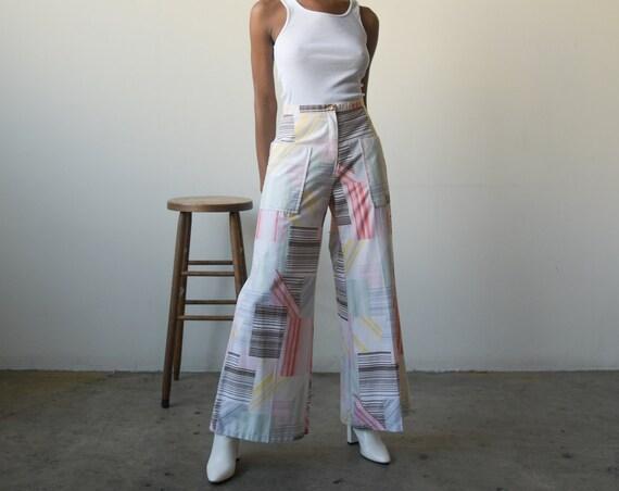 5793t / 70s white cotton patchwork print wide leg