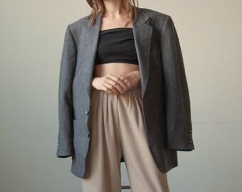 2857o / oversized wool tweed check blazer / boyfriend blazer / s / m / l