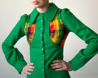 3074o / green wool fitted puff sleeve coat / xs