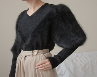 6360t / black angora mutton sleeve sweater / full puff sleeve sweater / s