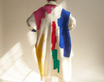 3084o / white abstract oversized mohair knit coat / s / m