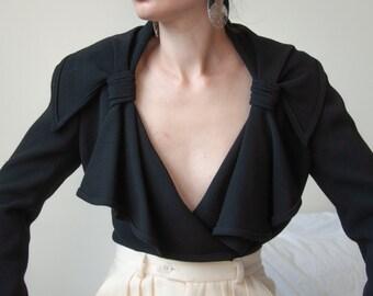 3085o / sonia rykiel black wool crepe wrap jacket / fr 36 / s