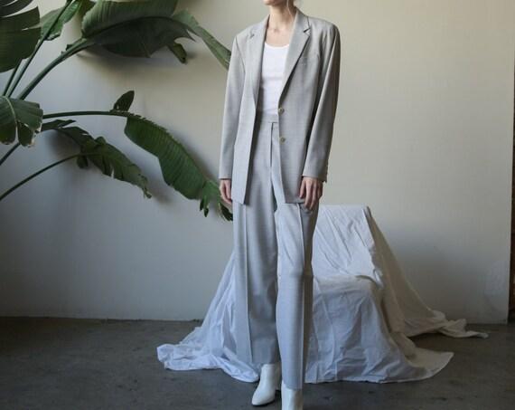 2899o / ANNE KLEIN gray minimalist pant suit / mod