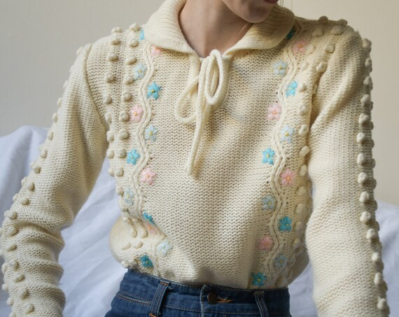 5449t / floral embroidered bobble sweater / peter