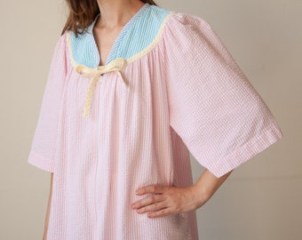 2891d / pastel colorblock seersucker striped dress / s / m