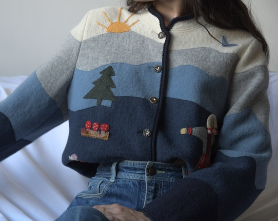 5696t / wool novelty scene patchwork sweater / s /