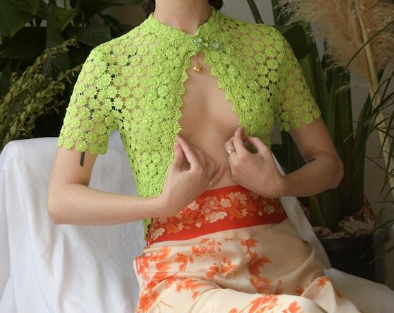 5684t / lime green cropped crochet cardigan sweate