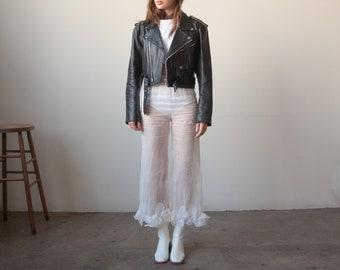 2218o / black leather motorcycle jacket / s / m