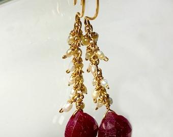 Ruby and pearl earrings