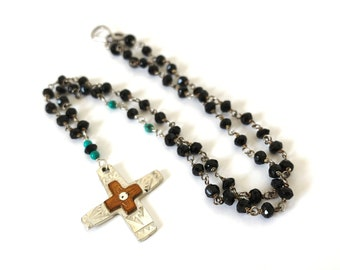 Sterling silver cross with spinel and turquoise necklace